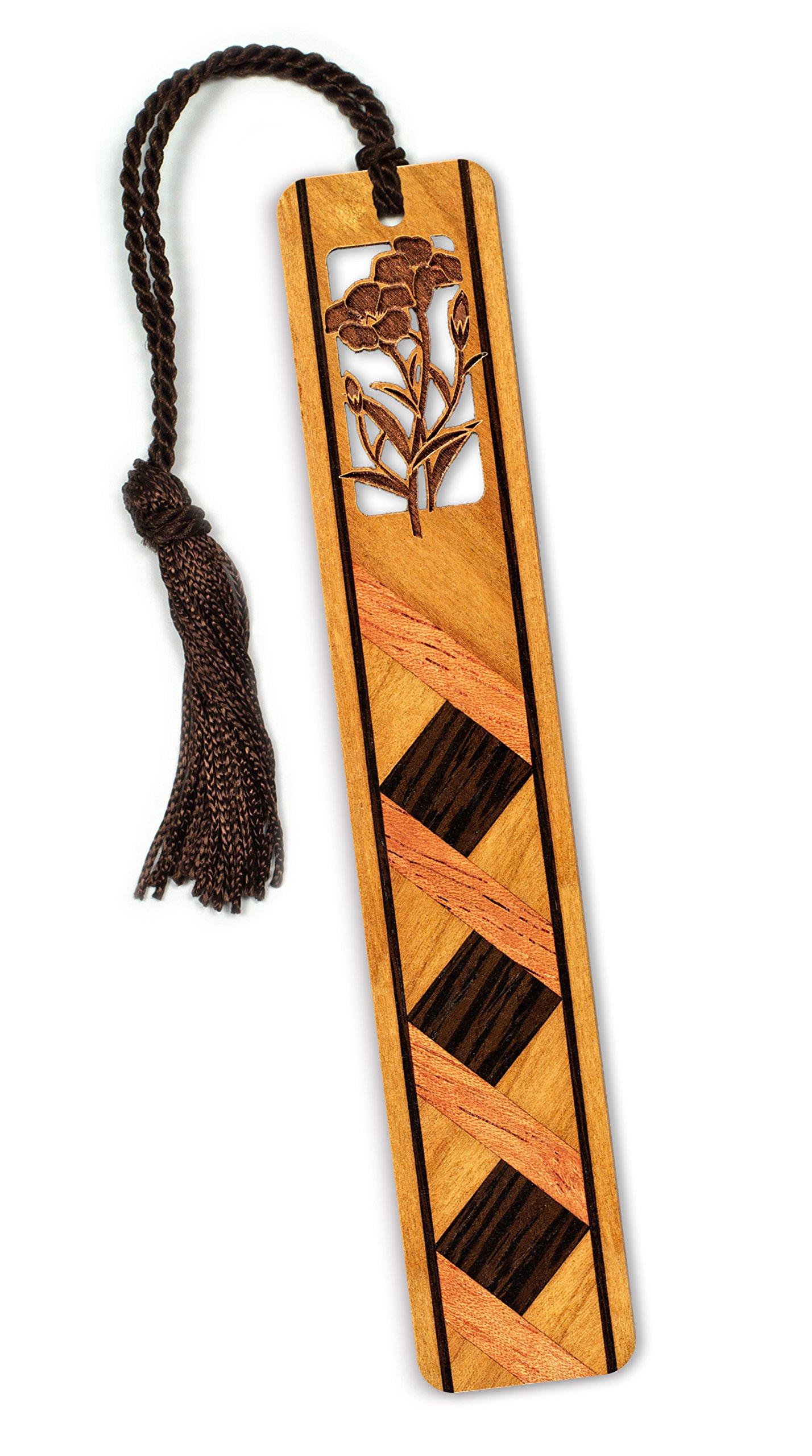 Floral - Flower - With Diamonds Engraved Wooden Bookmark with Tassel