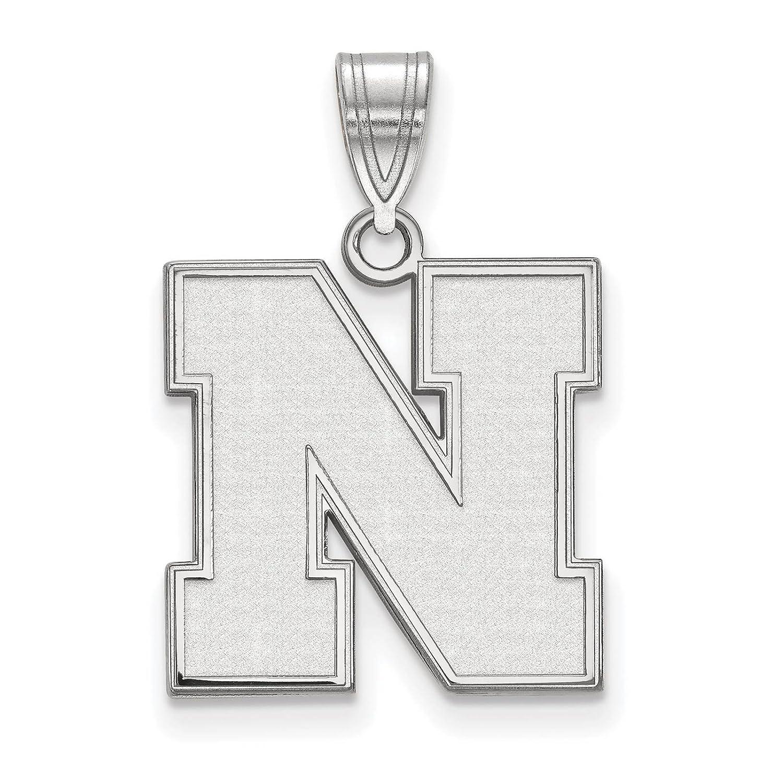 925 Sterling Silver Rhodium-plated Laser-cut University of Nebraska Medium Pendant