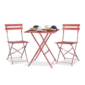 Relaxdays Ensemble table et chaises de bistrot pliants en 60 x 60 cm carré  métal jardin extérieur, rouge