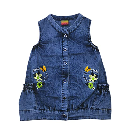 c41480b1e2 Kid s Care Fashion Girl s Denim Jeans Jumpsuit Dress with T-Shirt  Set(DD966)(DD211)  Amazon.in  Clothing   Accessories
