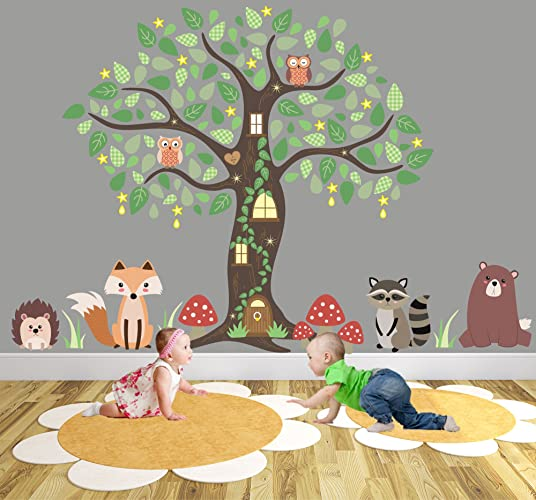 Enchanted Forest Nursery Wall Stickers, Woodland Animal Wall Decal, Owl  Tree Mural. Fox Part 81
