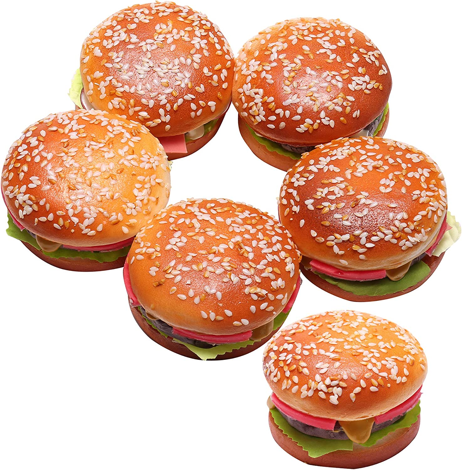6 Pieces Fake Hamburger for Display with a Magnet, Artificial Beef Bread Play Food, Perfect for Kids Pretend Bakery Party, Birthday Realistic Foods Decorations (Big Sesame Beef Burger)