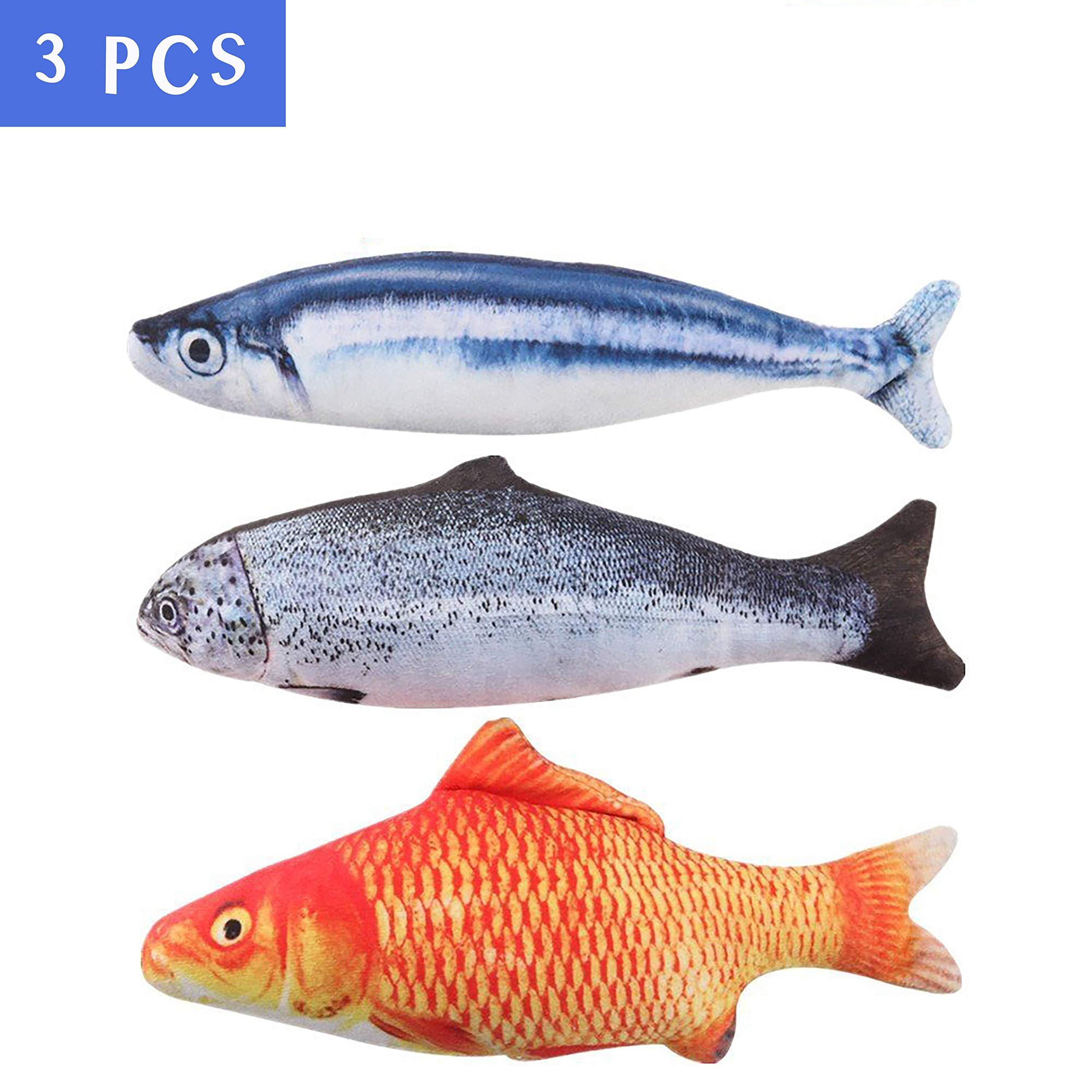 MAXXV® Catnip Fish Toys for Cats - North American Organic Catnip - 3PCS Catnip Toys for Cats - 11.5\
