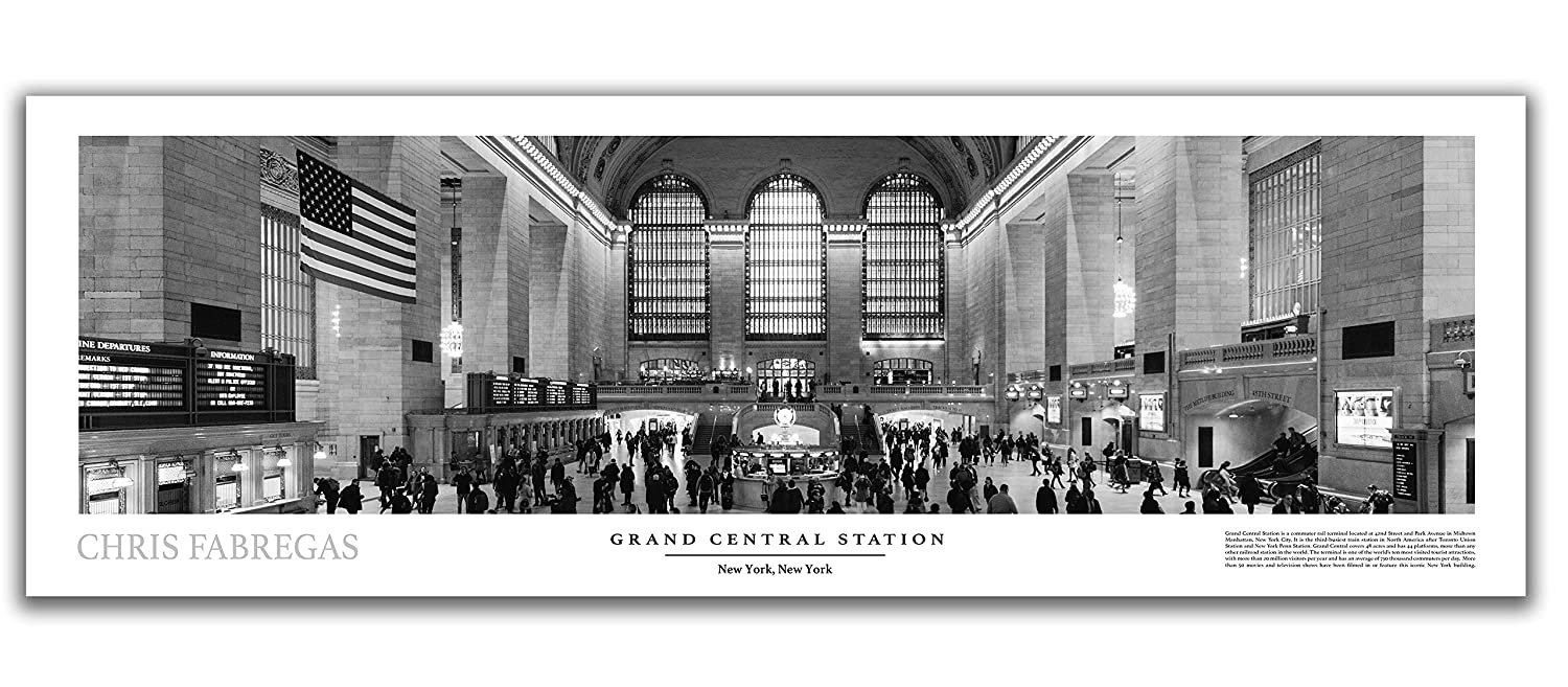 Amazon com grand central station black white panoramic poster