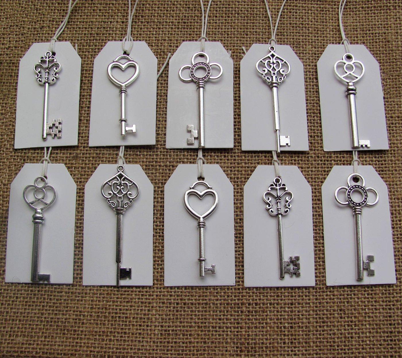 SL crafts Mixed 100pcs Antique Silver Skeleton Keys & 100 pcs White Tags Key Charms Pendants Wedding favor 53mm-68mm by SL crafts (Image #4)
