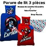 AVENGERS - Parure de lit (3pcs) - Housse de Couette (140x200) + Taie d'Oreiller (63x63) + Drap housse (90x190) - 100% Coton - Imprimé Mission