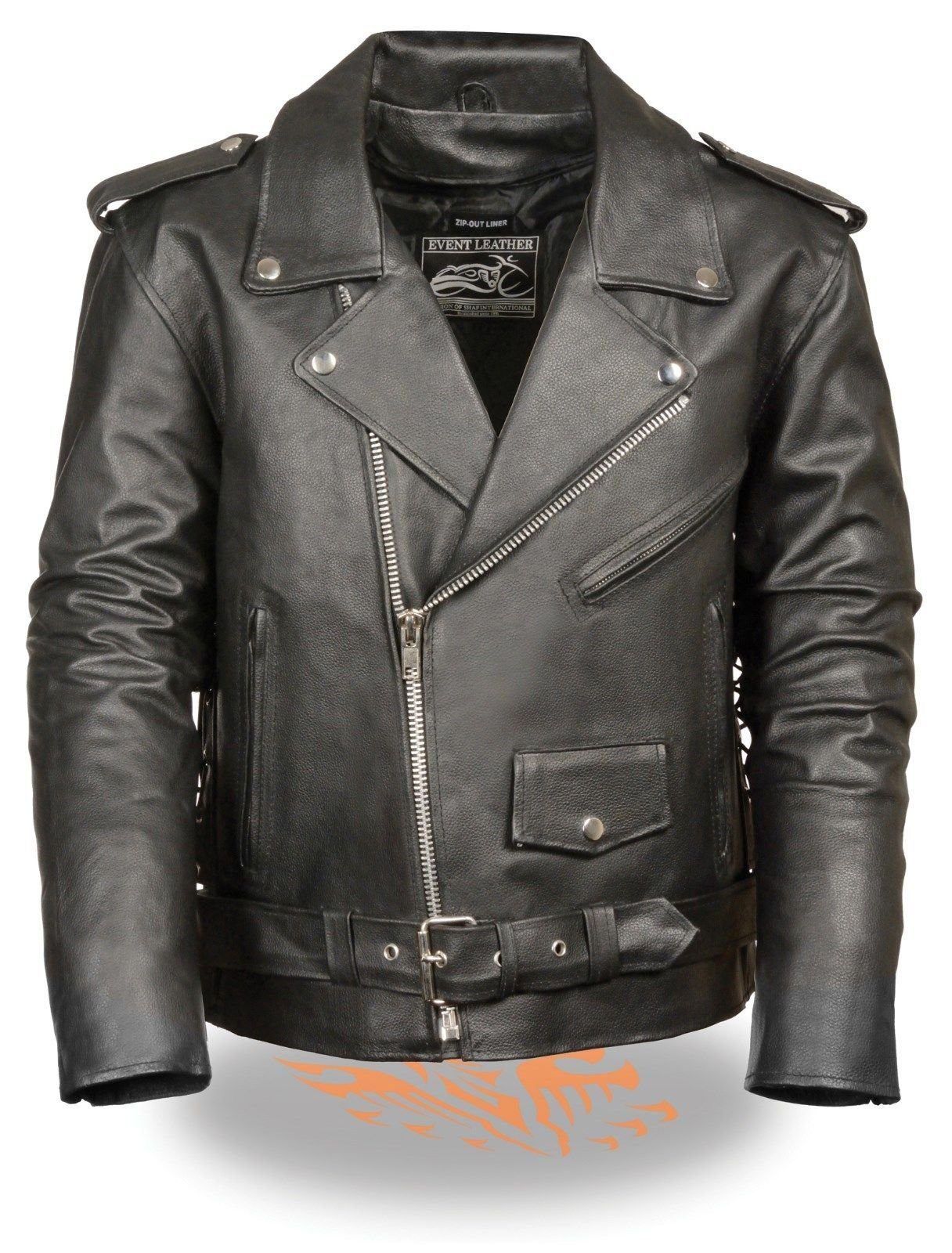 MEN'S MOTORCYCLE RIDERS CLASSIC M/C JACKET POLICE TERMINATOR STYLE W/SIDE LACE ( EL5411 3X Regular)