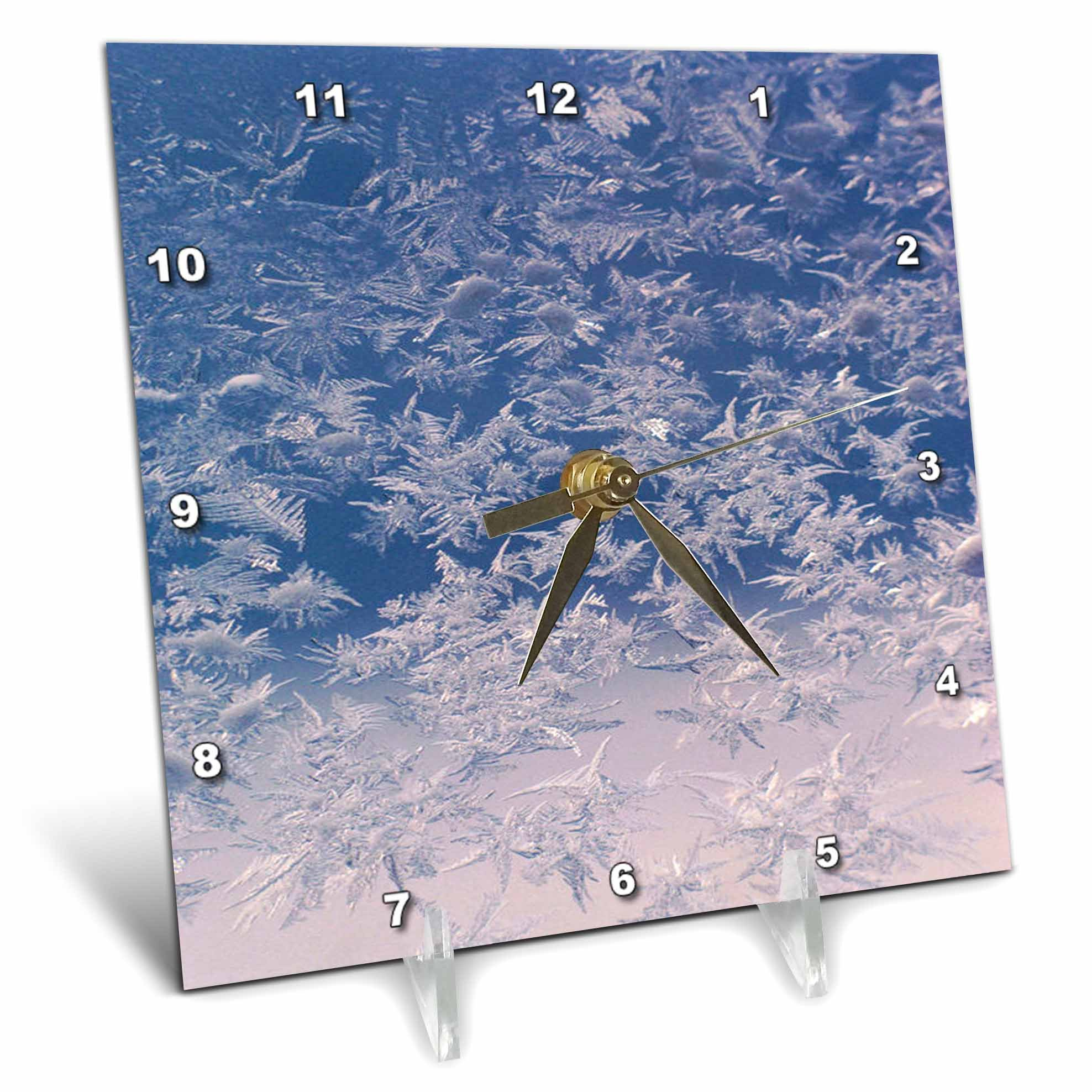 3dRose TDSwhite – Winter Seasonal Nature Photos - Window Snowflakes - 6x6 Desk Clock (dc_284946_1)