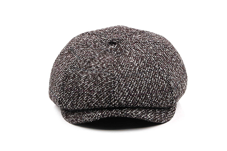 DYAPP Men's Newsboy Cap Ivy Hat Fold-Down Ear Flaps Black One Size DY-MZ00001-00