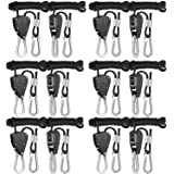 iPower 6-Pack 1/8 Inch 8-Feet Long Adjustable Heavy Duty Rope Clip Hanger, Reinforced Metal Internal Gears,150lb Capacity