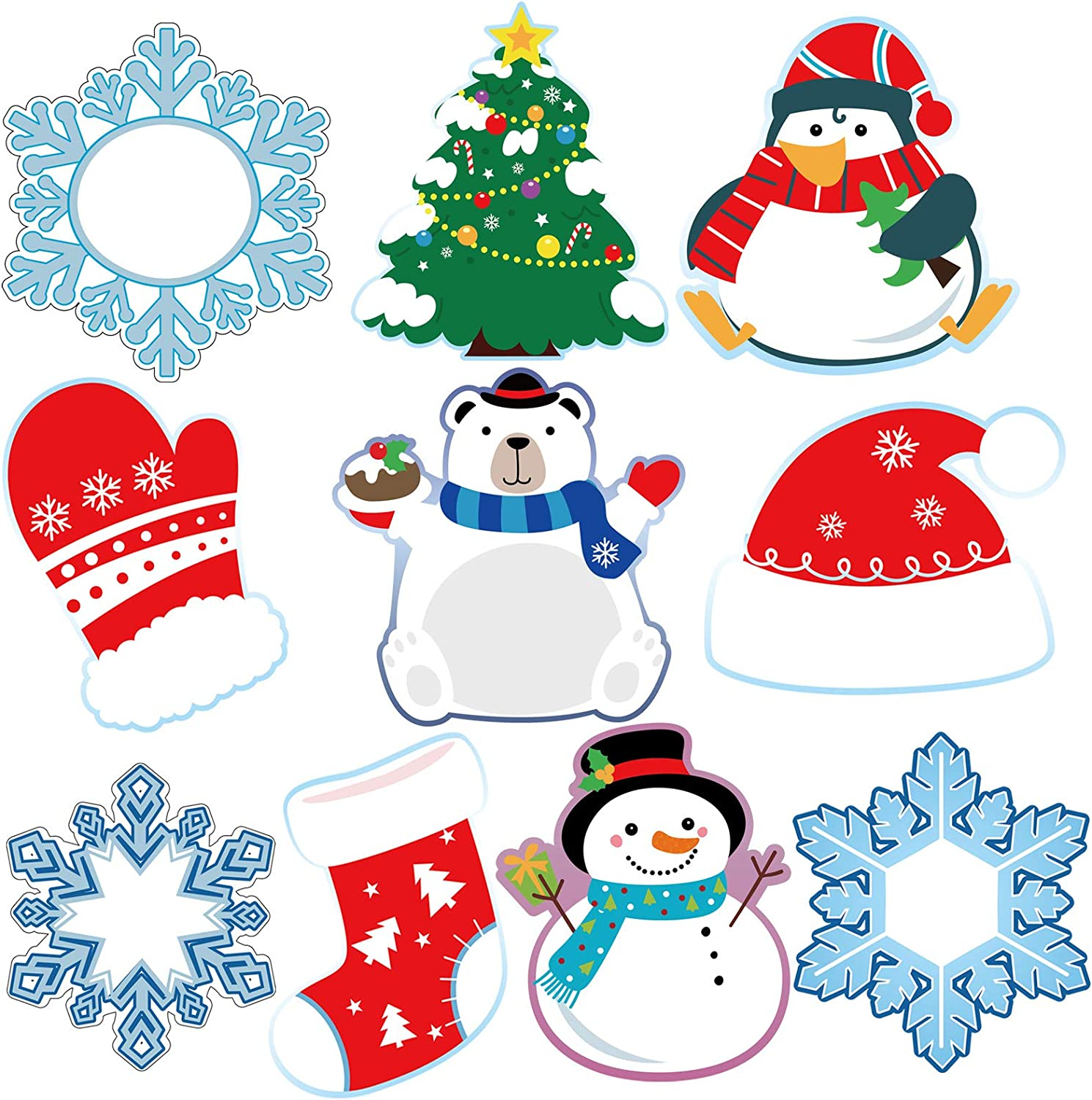 Amazon Com 50 Pieces Winter Cutouts Snowflake Penguin Snowman Classroom Decoration Colorful Christmas Party Decorations Supplies For Bulletin Board School Theme Office Products