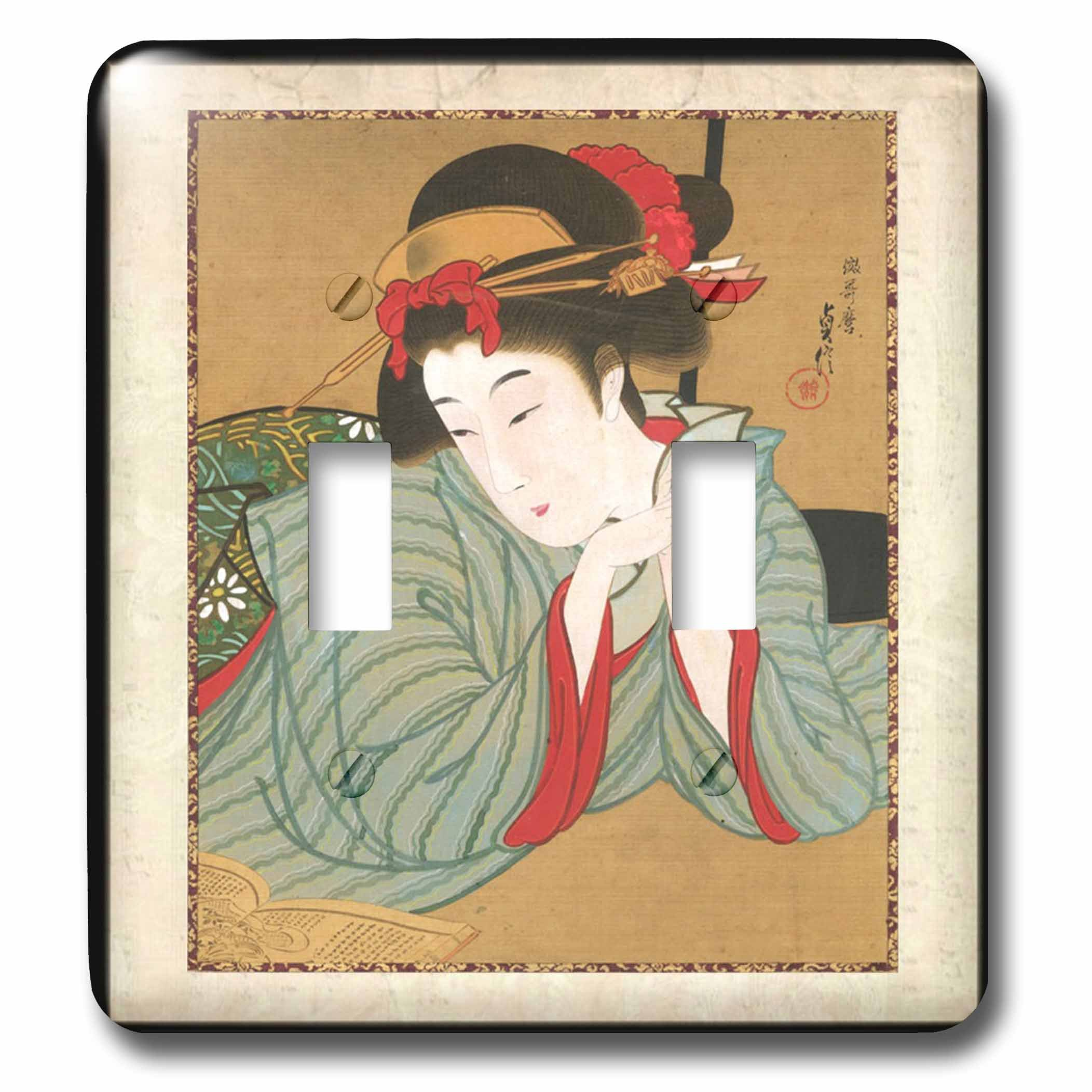 3dRose LSP_62455_2''1850 Japanese Portrait Painting of Woman Double Toggle Switch,