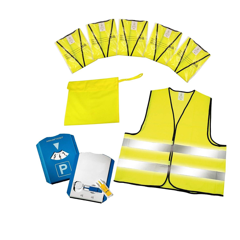 Warnwesten 5er-Set im Etui nach EN ISO 20471 Zertifiziert Parkuhr inkl Profilmesser und Einkaufswagenchip Warnweste Gelb Einheitsgr/ö/ße XXL mit Reflektorstreifen elasto Parkscheibe