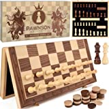 """Magnetic Wooden Chess Checkers Set for Kids and Adults – 15"""" Staunton Chess Set - Travel Portable Folding Chess Board…"""