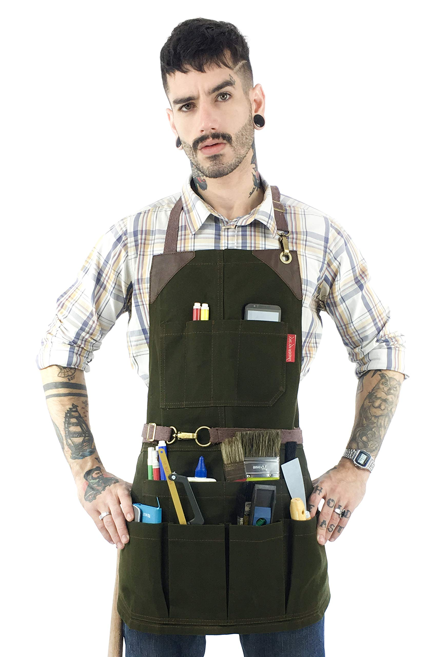 Under NY Sky Tool Forest Green Apron – Heavy-Duty Waxed Canvas, Leather Reinforcement, Extra Pockets – Adjustable for Men and Women – Pro Mechanic, Woodworker, Blacksmith, Plummer, Electrician Aprons
