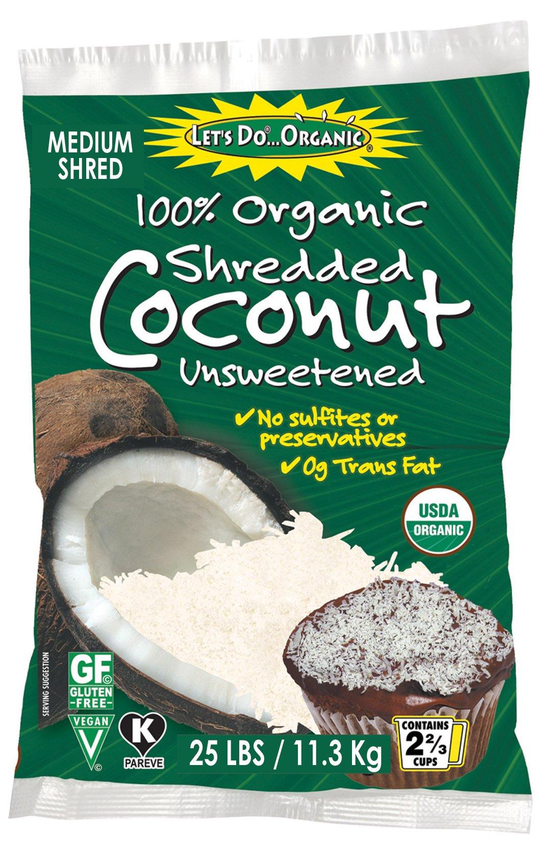 Let's Do Organic Shredded Coconut, Medium Shred, Food Service Size, 25 Pound