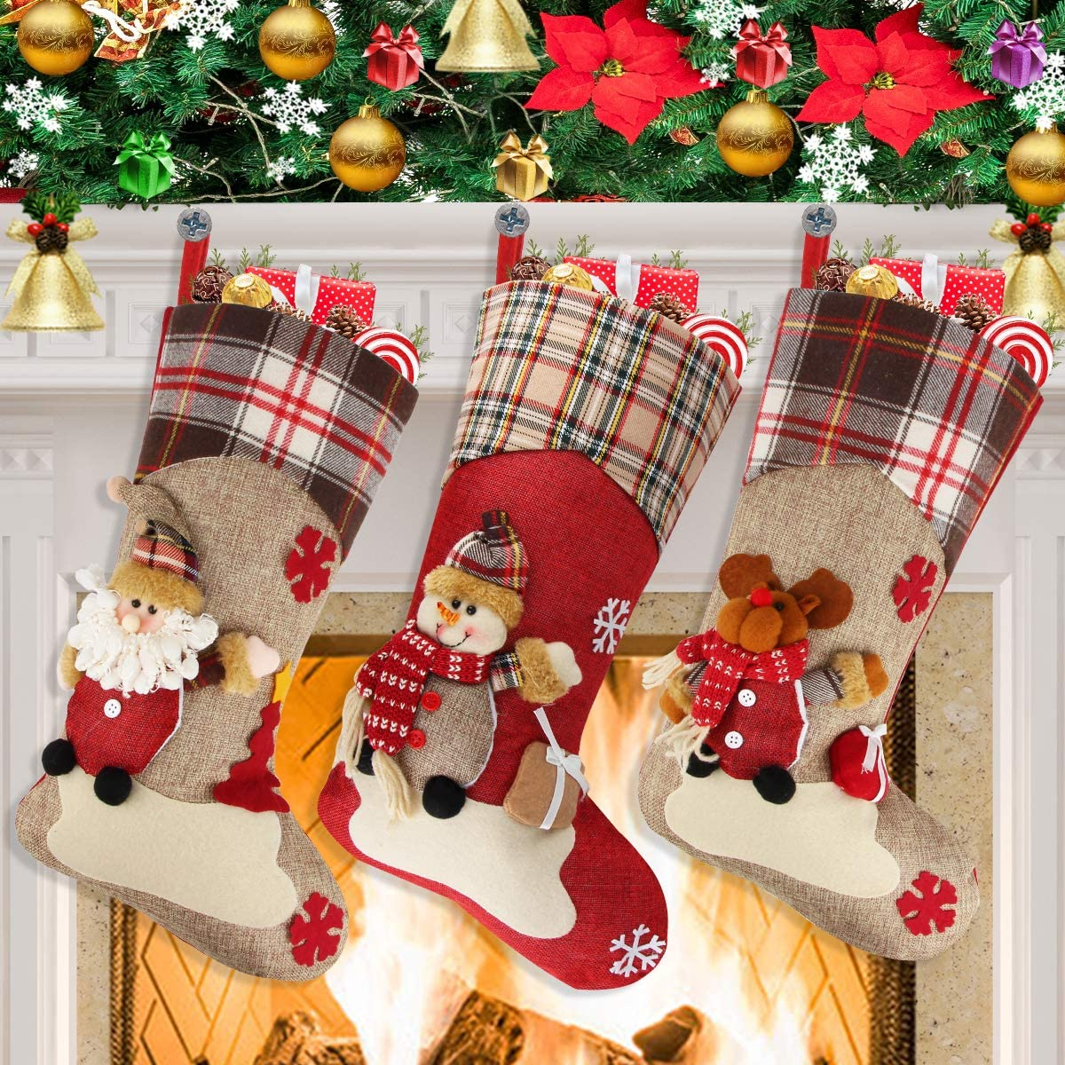 Christmas Stockings Dreampark Big Size 3 Pcs 18 Classic Christmas Stocking Santa Snowman Reindeer Xmas Character For Party Decoration Style 2 Kitchen Dining