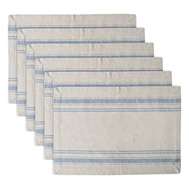 DII 100% Cotton Machine Washable, Everyday French Stripe Placemat Dinner Parties, Summer & Outdoor Picnics, Set of 6-Nautical Blue, Placemat-13 x 19