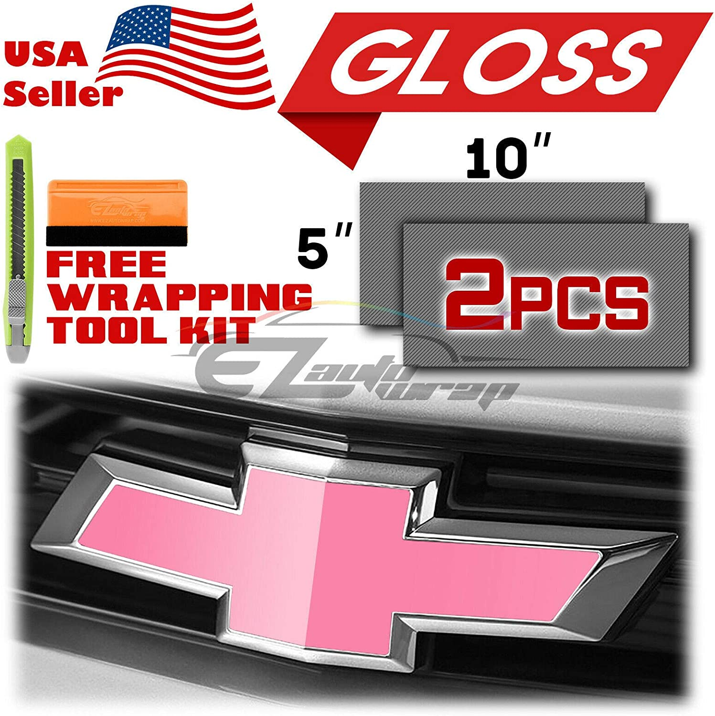 EZAUTOWRAP Free Tool Kit 2Pcs 5x10 Chevy Emblem Bowtie Gloss Red Vinyl Wrap Sticker Decal Film Overlay Sheet