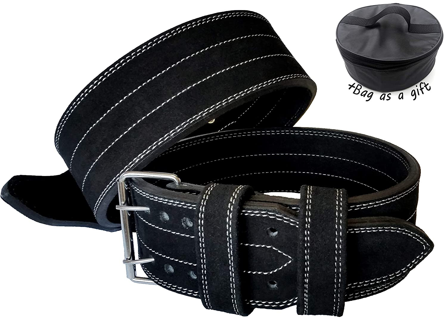 BodyFit+Weight Lifting Belts Leather Double Prong, Power Lifting Belt, Bodybuilding Belt