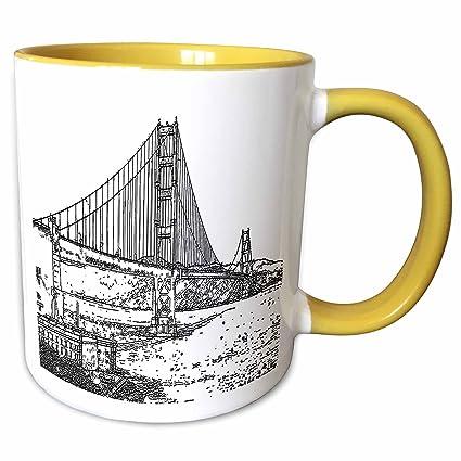Buy 3drose Sandy Mertens California Golden Gate Bridge San Francisco Line Art 11oz Two Tone Yellow Mug Mug 21693 8 Online At Low Prices In India Amazon In