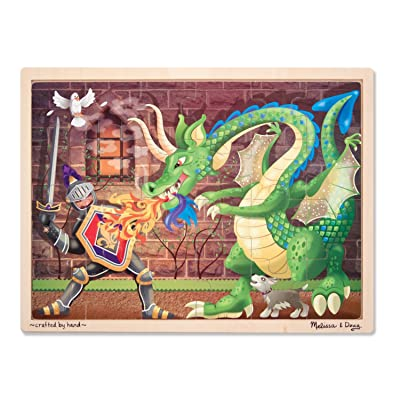 Melissa & Doug Knight vs. Dragon Wooden Jigsaw Puzzle With Storage Tray (48 pcs): Melissa & Doug: Toys & Games