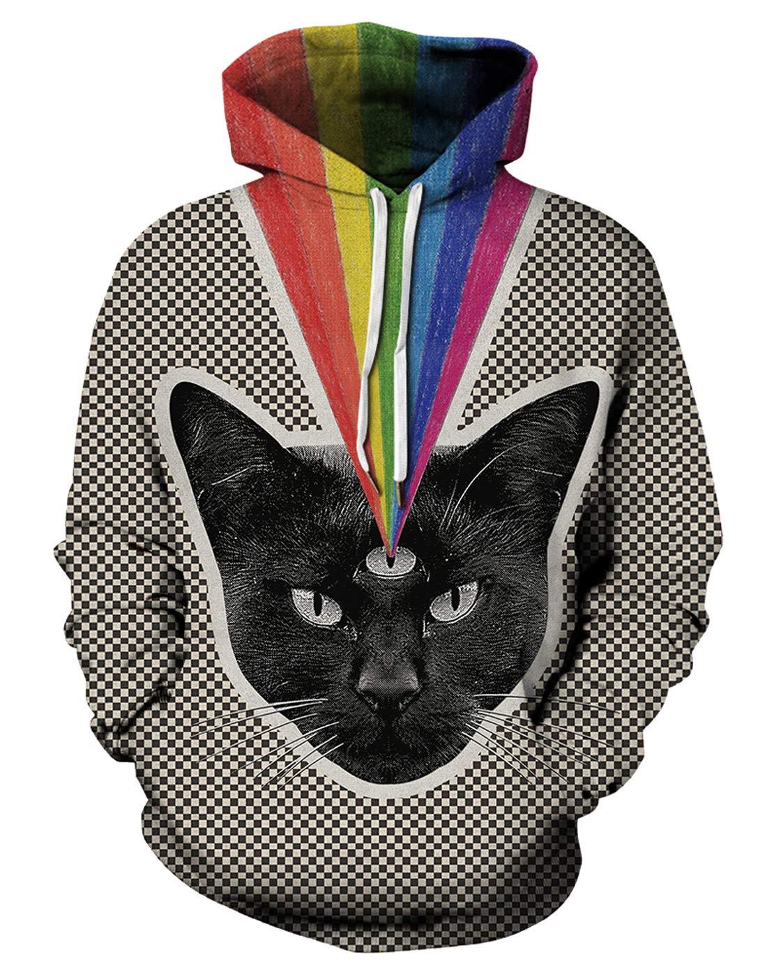 URVIP Unisex Realistic 3D Print Pullover Sweatshirt Hoodies with Big Pockets QYDM-439 L/XL by URVIP