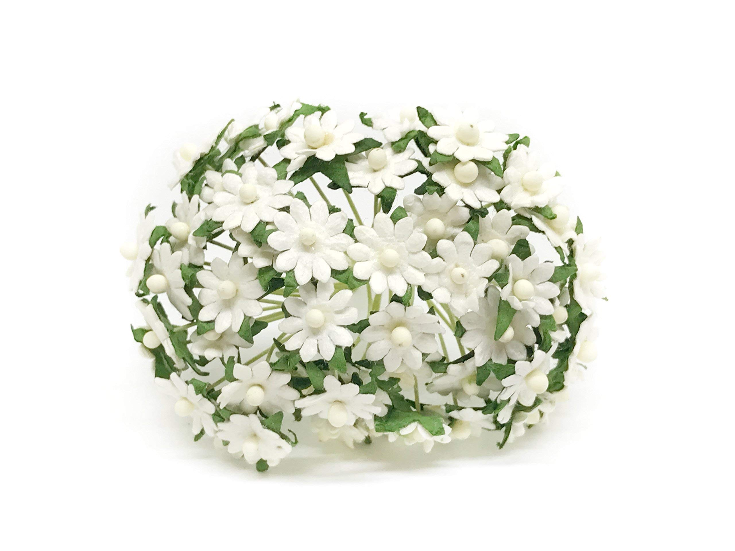 1cm-White-Paper-Daisies-Mulberry-Paper-Flowers-Miniature-Flowers-For-Crafts-Mulberry-Paper-Daisy-Paper-Flower-Artificial-Flowers-50-Pieces