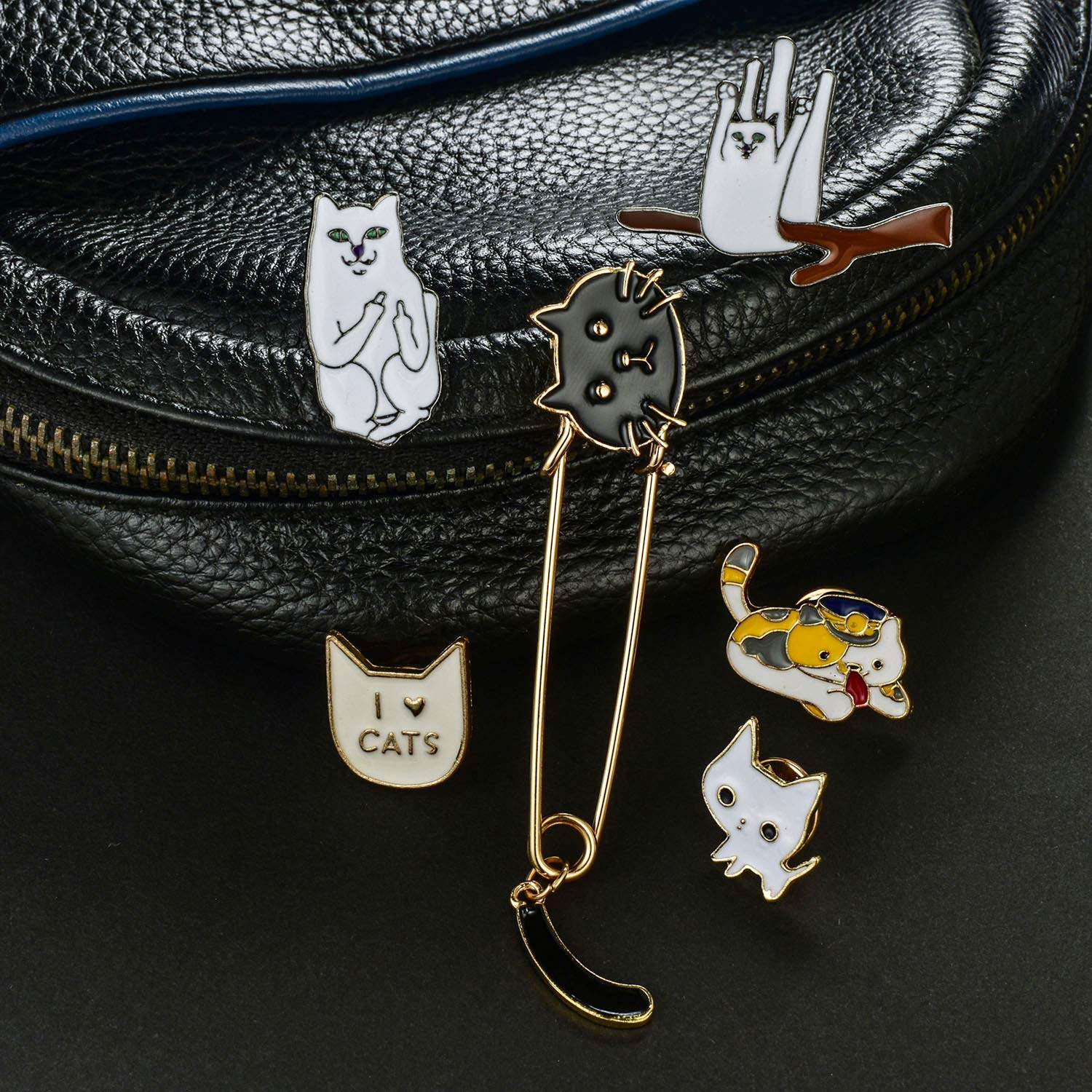 YengHome Cute Enamel Lapel Pins Brooches Sets DIY Dogs Cats Animal Plant Punk Christmas Halloween Brooches Pin Badges for Clothing Bags Backpacks Jackets Hat