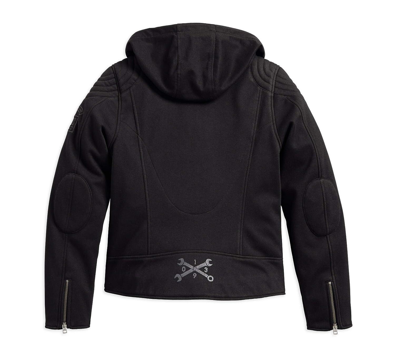 Black Harley-Davidson Womens Reinforced Slim Fit Riding Hooded Jacket