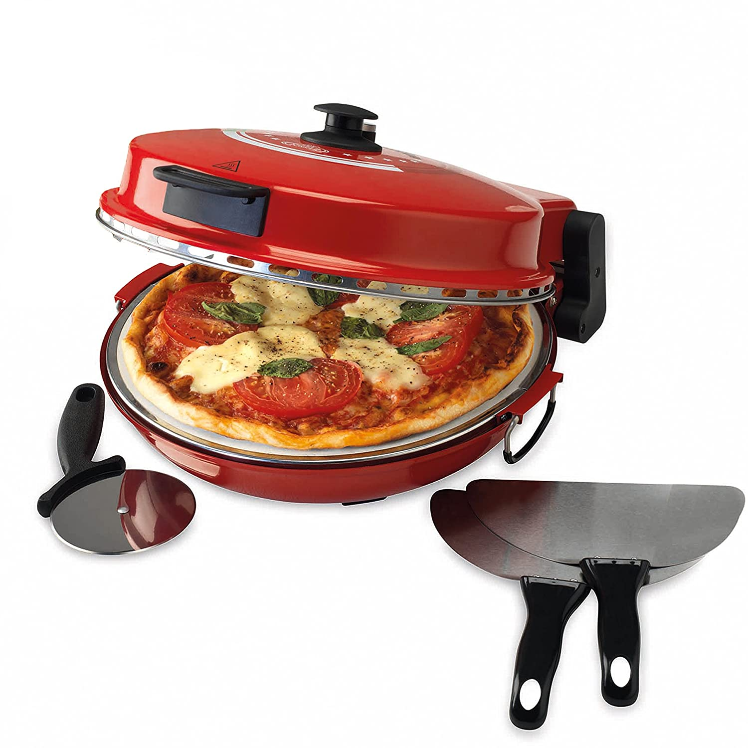 Uncategorized Pizza Makers Specialty Kitchen Appliances giles posner ek2309 italian stone baked bella pizza maker oven 1200 w red amazon co uk kitchen home