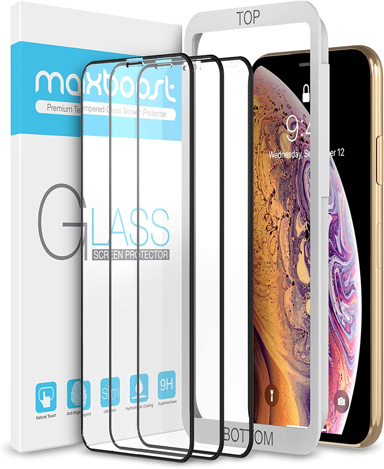 "Maxboost (3 Pack) Edge-to-Edge Screen Protector for Apple iPhone 11 Pro Max and iPhone XS Max (6.5"") Full Framed Tempered Glass Screen Protector Compatible with iPhone XS Max/11 Pro Max - 3 Pack"