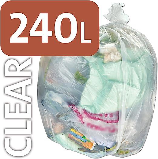 Bolsa de plástico transparente resistente Alina, 240 litros, para ...