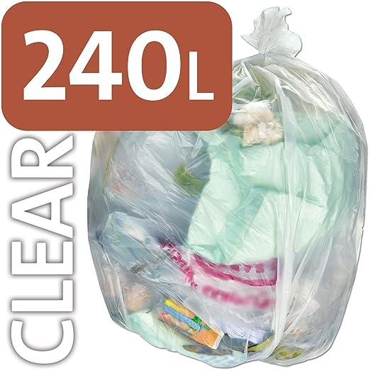 Bolsa de plástico transparente resistente Alina, 240 litros, para contenedores con ruedas, bolsas de basura, saco compacto ENSA, resistente, 240 ...