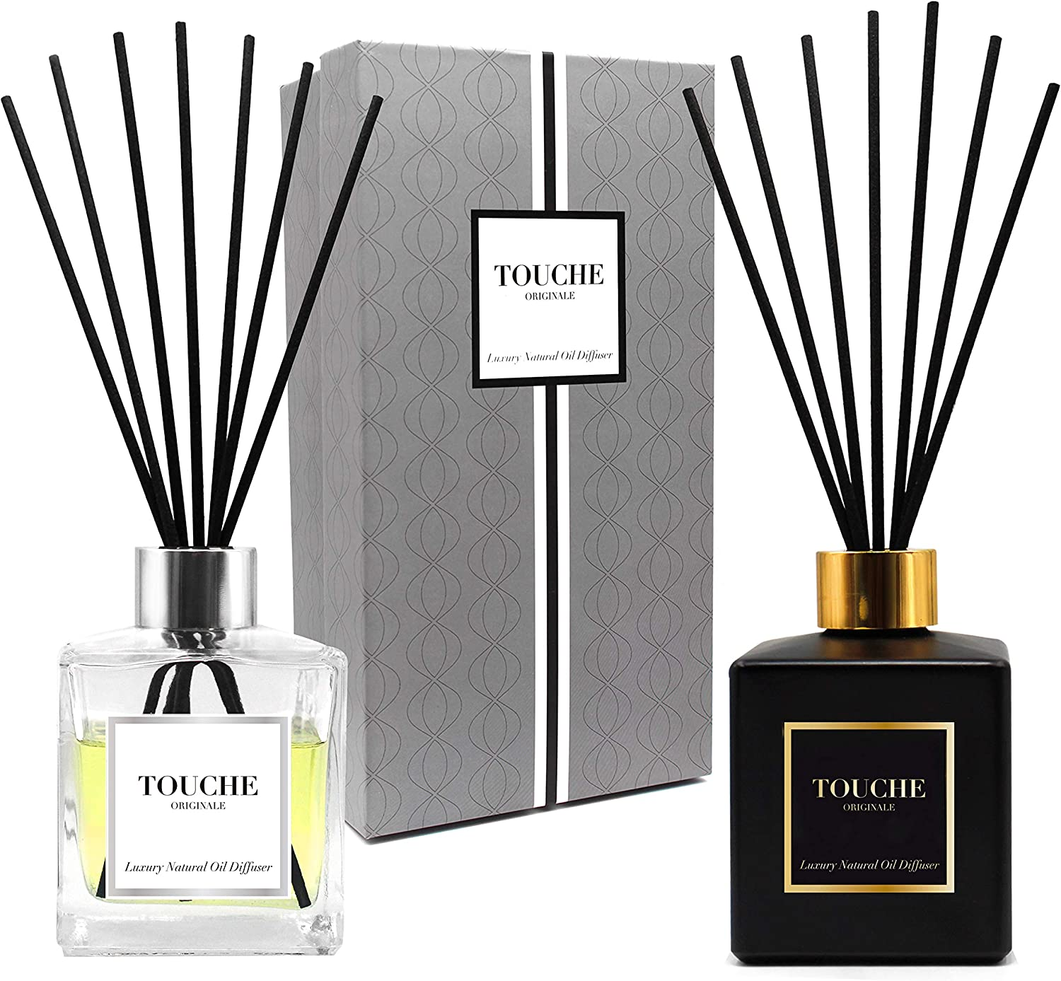 TOUCHE ORIGINALE Luxury Natural Essential Oil Reed Diffuser. Long Lasting Scented Fragrance - 90 Days. Office & Home Aromatherapy. Glass Bottle, 10 Sticks. Alcohol-Free (Citrus, Clear Bottle)