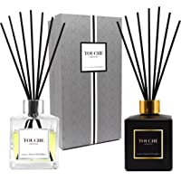 Luxury Natural Essential Oil Reed Diffuser. Long Lasting Scented Fragrance - 90 Days. Office & Home Aromatherapy. Glass Bottle, 10 Sticks. Alcohol-Free (Bamboo & Jasmine, Black Bottle)