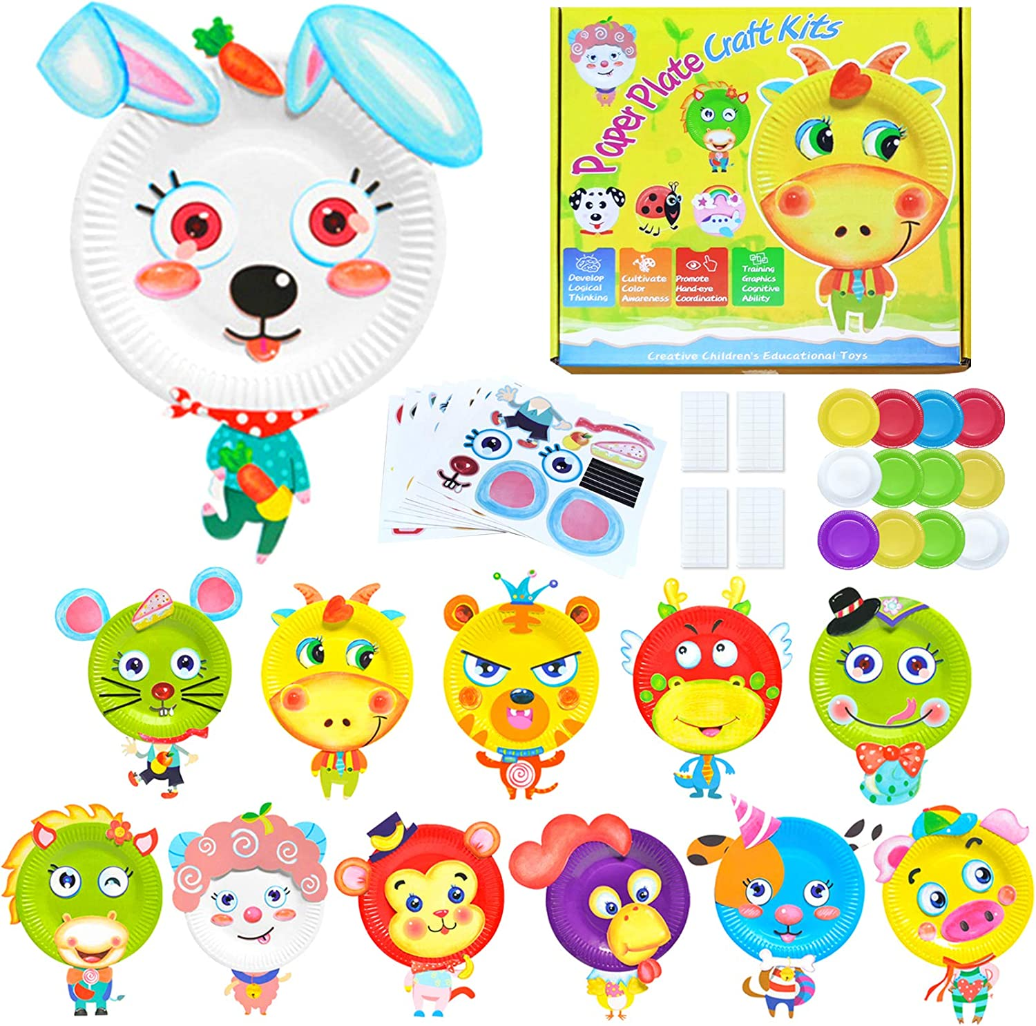 SAYBZ 12 Sets of Easter Decorating Foam Kids Craft Kits Toddler Art Toys Easter Animal Craft Kit for Kids DIY Classroom Home School Art Decor Animals Paper Plate Art Kit Crafts for Kids and Fun Home