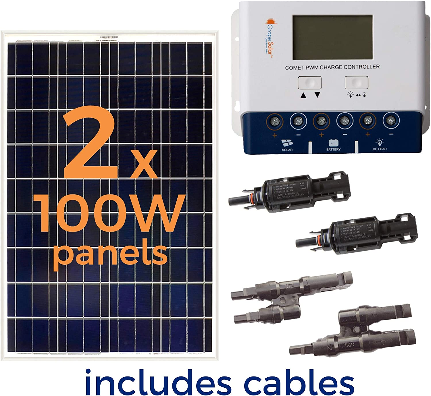 Amazon Com Grape Solar Gs 200 Kit 200 Watt Off Grid Solar Panel Kit Garden Outdoor