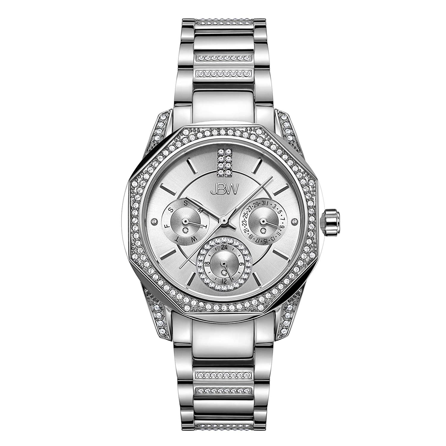JBW Luxury Women's Marquis J6369 0.05 ctw Diamond Wrist Watch with Stainless Steel Bracelet