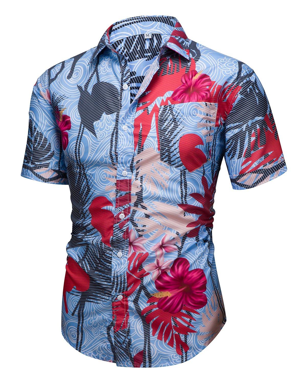 Men's Aloha Hawaiian Short Sleeve Button Down Shirts Tropical Printed Tops Blue Medium