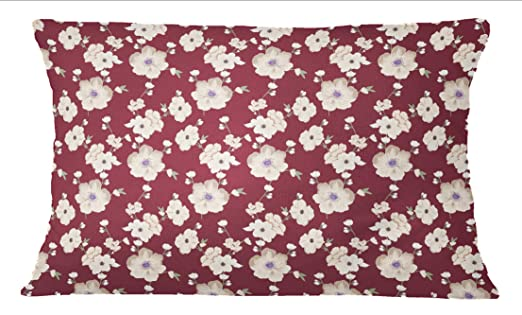 S4Sassy Estampado de flores de color marron granate Cojin ...