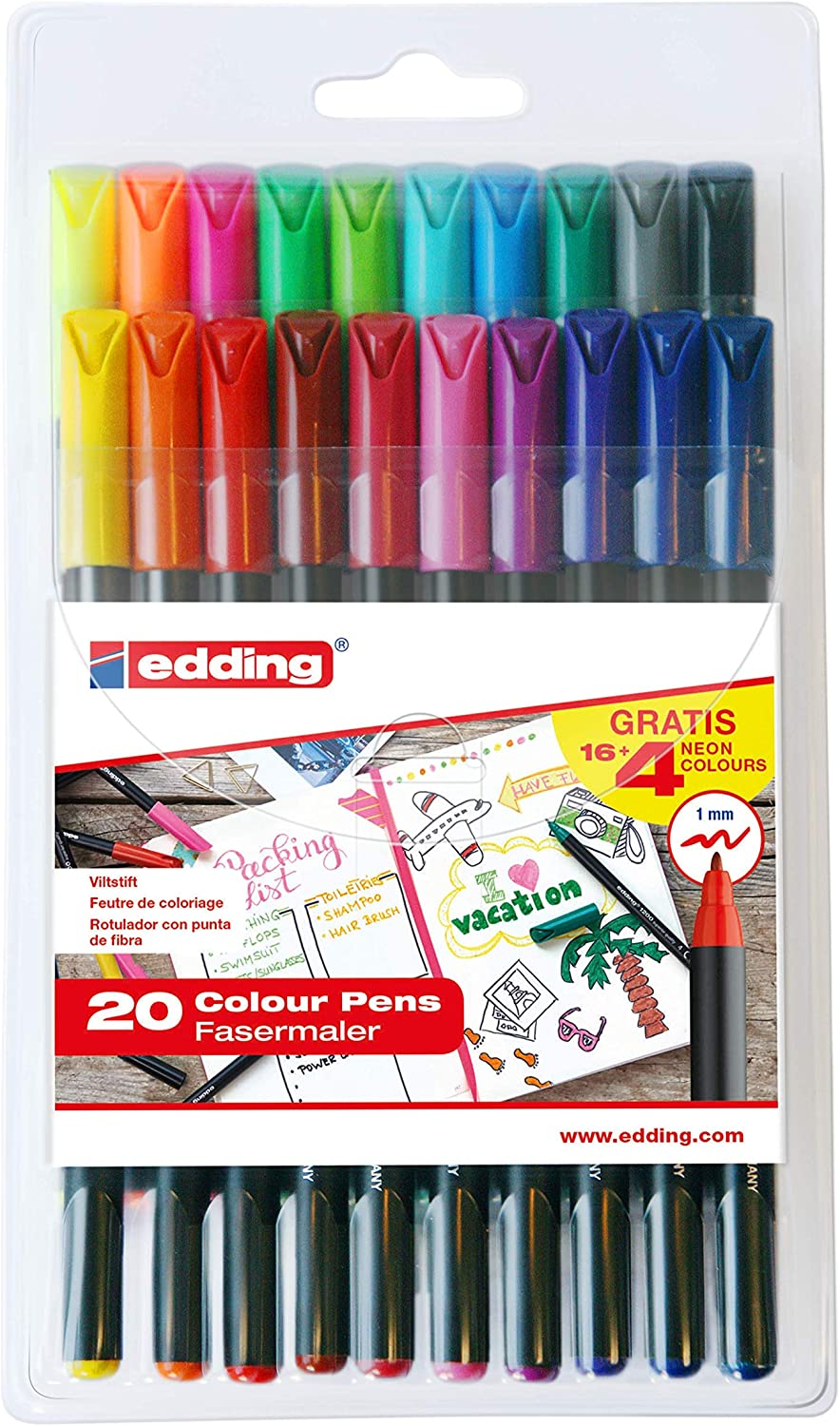 Edding e1200-20S - PACK con 16+4 ROT. 1200. COLORES 1-12, 14, 17, 19, 20, 64, 65, 66, 69, Multicolor