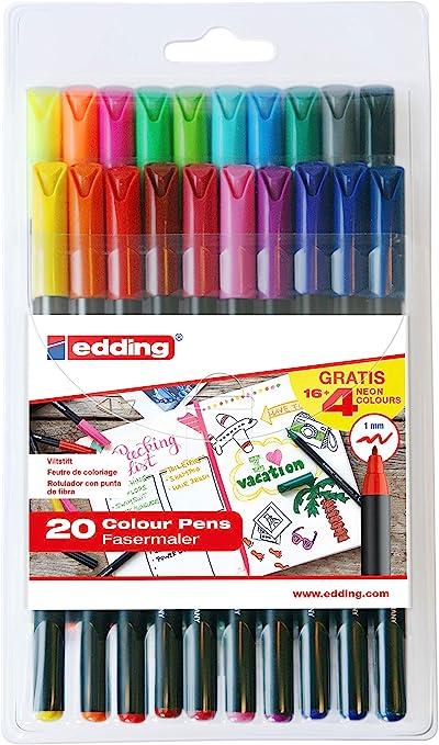 Edding e1200-20S - PACK con 16+4 ROT. 1200. COLORES 1-12, 14, 17, 19, 20, 64, 65, 66, 69, Multicolor: Amazon.es: Oficina y papelería