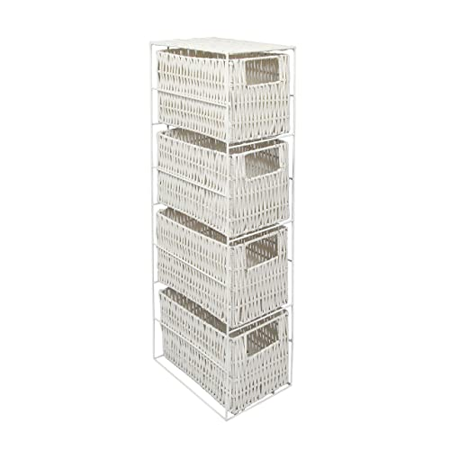 woodluv 4 Drawer Resin Tower Storage Unit-White, Wood