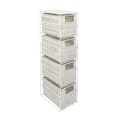 Woodluv 4 Drawer Resin Tower Storage Unit, White