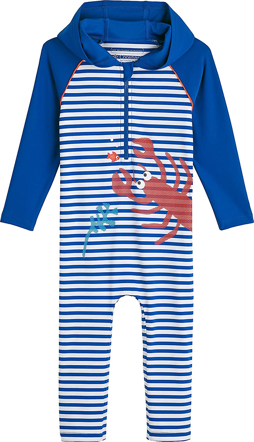 Coolibar UPF 50+ Baby Hooded One-Piece Swimsuit - Sun Protective