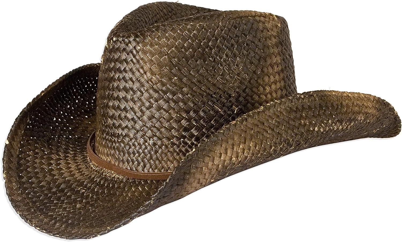 Black Straw With Shapeable Brim Vintage Style Unisex Cowboy Hat
