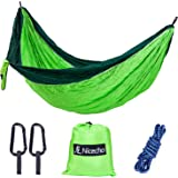 Nicecho Double Camping Parachute Hammock, Lightweight Nylon Portable Hammock, Best Garden Double Hammock For Backpacking, Travel, Camping, Beach, Yard or Any Adventure