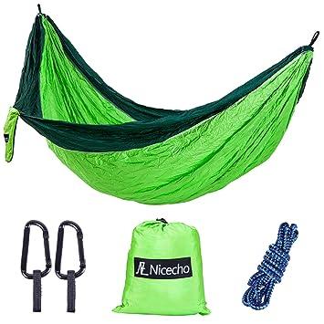 nicecho double camping parachute hammock lightweight nylon portable hammock best garden double hammock for   amazon    nicecho double camping parachute hammock lightweight      rh   amazon