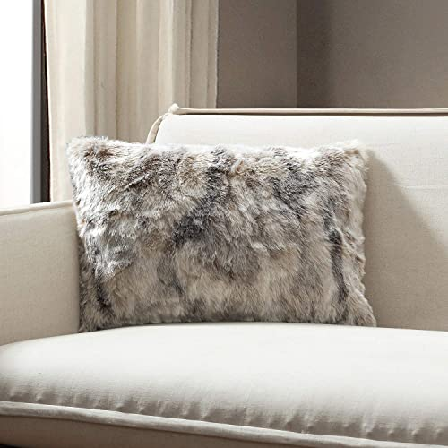 TINA S HOME Faux Fur Pouf Throw Pillow Blanket Shams Lumbar Brindle, Lumbar